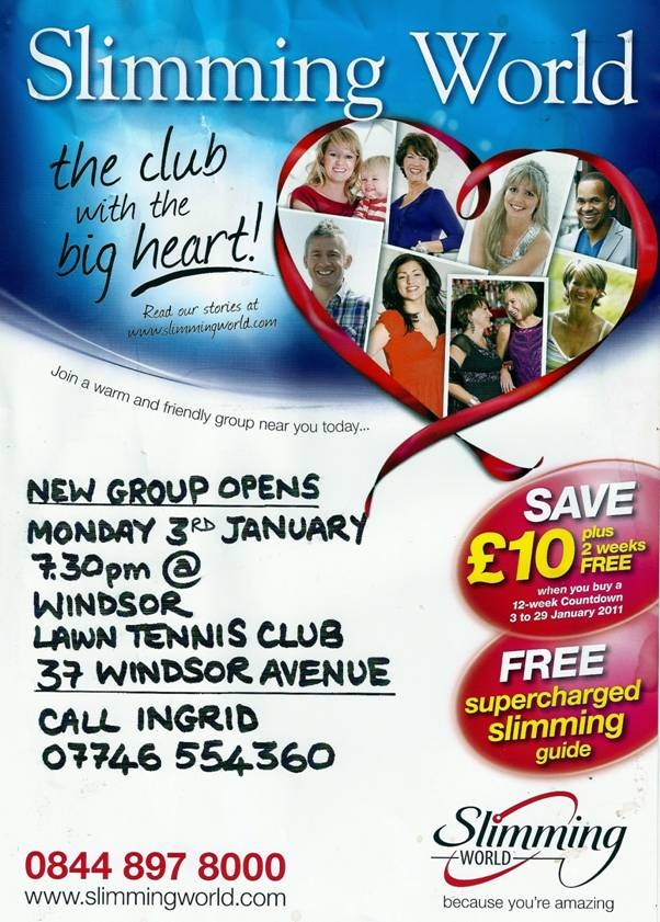 Slimming world call ingrid to book your slot 07746 554 360 windsor tennis club belfast Slimming world clubs