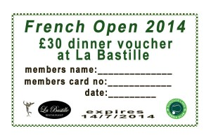 La Bastille French Open 2014 Coupon membership offer