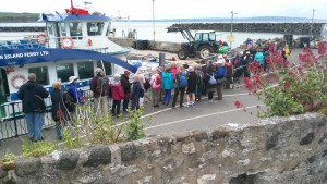 Standing in line for the return ferry from Rathlin to Ballycastle 7th June 2017